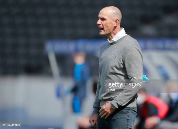 Heiko Herrlich, Head Coach of FC Augsburg looks on during the Bundesliga match between Hertha BSC and FC Augsburg at Olympiastadion on May 30, 2020...
