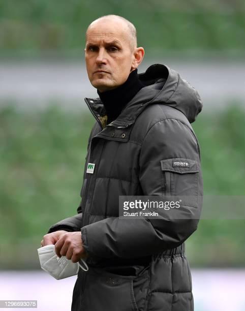 Heiko Herrlich, Head Coach of FC Augsburg looks on prior to the Bundesliga match between SV Werder Bremen and FC Augsburg at Wohninvest Weserstadion...