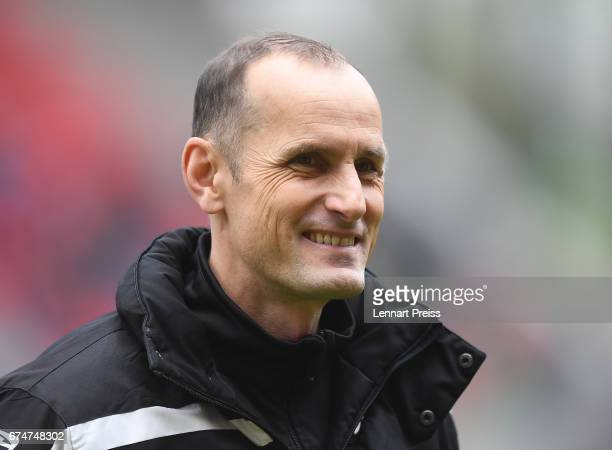 Heiko Herrlich head coach of Jahn Regensburg looks on before the 3 Liga match between Jahn Regensburg and Holstein Kiel on April 29 2017 in...