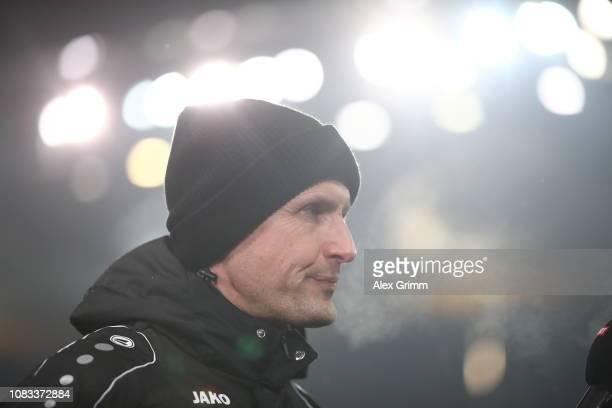 Heiko Herrlich, head coach of Leverkusen looks on before the Bundesliga match between Eintracht Frankfurt and Bayer 04 Leverkusen at...