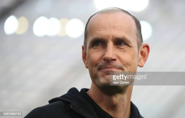 Heiko Herrlich Manager of Bayer 04 Leverkusen looks on prior to the Bundesliga match between Bayer 04 Leverkusen and Hannover 96 at BayArena on...