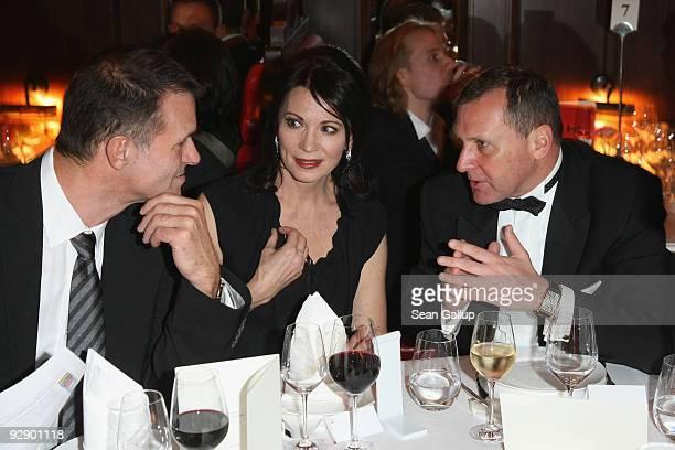 Heiko Kiesow, actress Iris Berben and Russian Ambassador to Germany Vladimir Kotenev attend the MTV Europe Music Awards Free Your Mind Award...