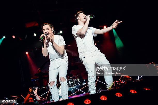 Heiko Lochman and his twin brother Roman of Die Lochis perform live on stage during a concert at Columbiahalle on January 4 2017 in Berlin Germany
