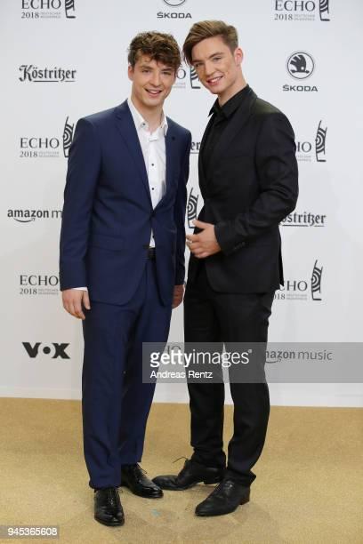 Heiko Lochman and Roman Lochman aka 'Die Lochis' arrive for the Echo Award at Messe Berlin on April 12, 2018 in Berlin, Germany.