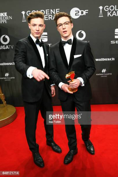 Heiko Lochmann and his brother Roman Lochmann alias 'Die Lochis' arrive for the Goldene Kamera on March 4 2017 in Hamburg Germany