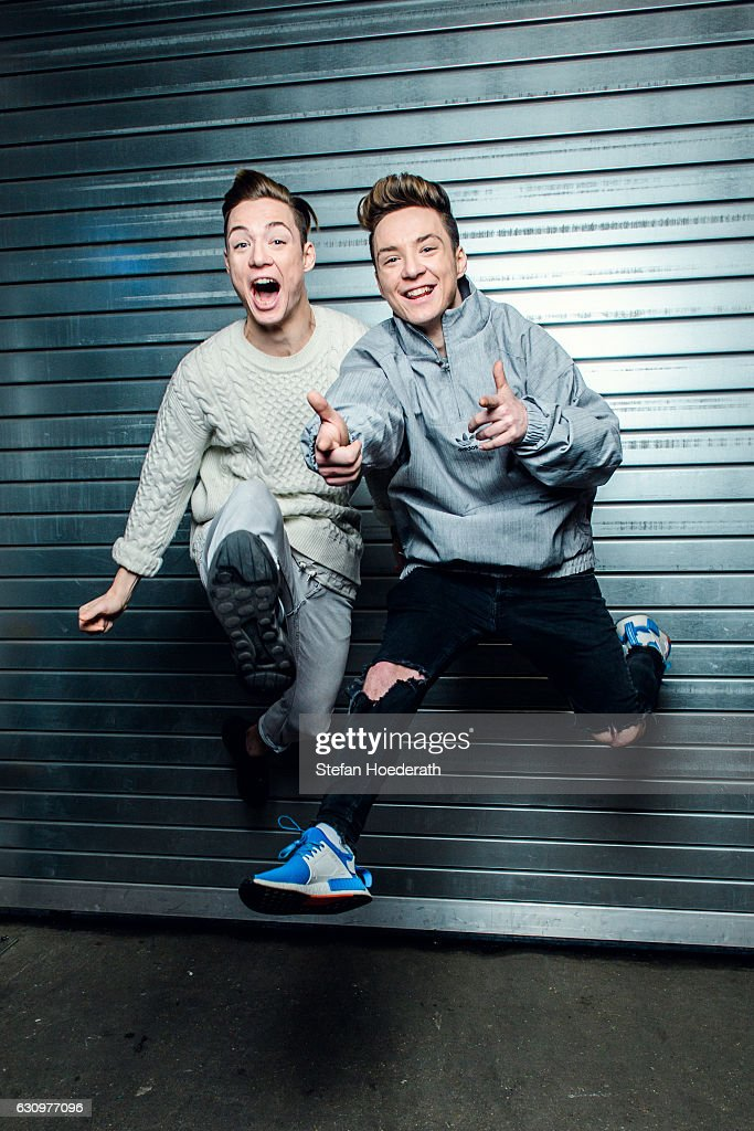 Heiko Lochmann and his twin brother Roman of die Lochis jump during a portrait session at Columbiahalle on January 4, 2017 in Berlin, Germany.