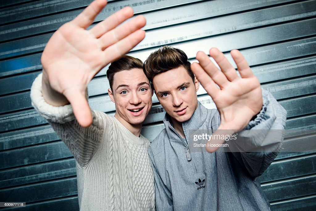 Heiko Lochmann and his twin brother Roman of die Lochis pose during a portrait session at Columbiahalle on January 4, 2017 in Berlin, Germany.