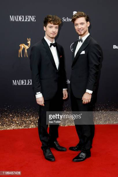 Heiko Lochmann and his twin Roman Lochmann arrive for the 71st Bambi Awards at Festspielhaus BadenBaden on November 16 2019 in BadenBaden Germany
