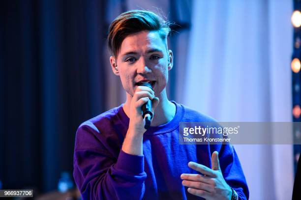 Heiko Lochmann of the German band 'Die Lochis' performs on stage after the 'Youth engagement in the fight to end AIDS' panel talk with young people...