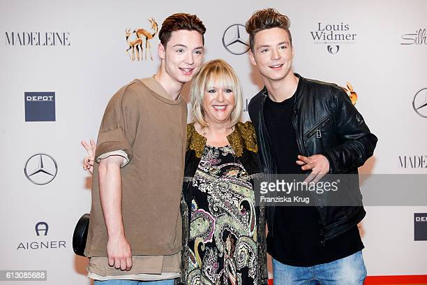 Heiko Lochmann, Roman Lochmann, aka 'Die Lochis', and Patricia Riekel attends the Tribute To Bambi at Station on October 6, 2016 in Berlin, Germany.