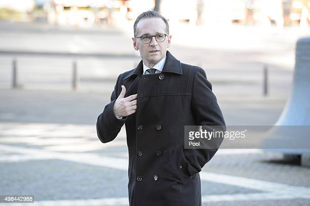 Heiko Maas arrives to attend the funeral service of former German Chancellor Helmut Schmidt at St Michaelis church on November 23 2015 in Hamburg...