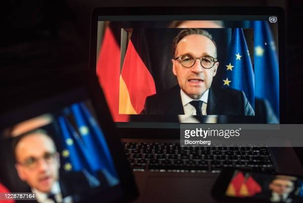 Heiko Maas, Germany's foreign affairs minister, speaks during the United Nations General Assembly seen on a laptop computer in Hastings on the...