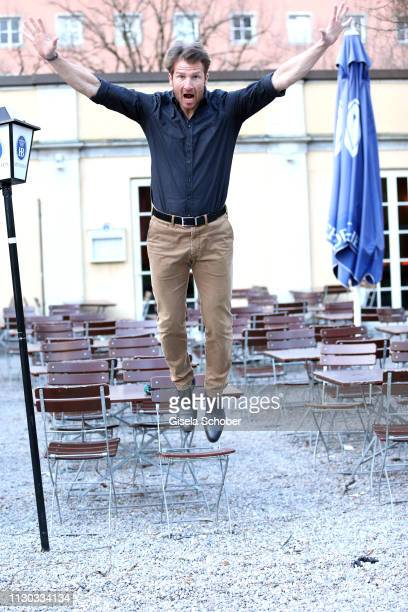 Heiko Ruprecht Bergdoktor jumps during the NdF after work press cocktail at Parkcafe on March 13 2019 in Munich Germany