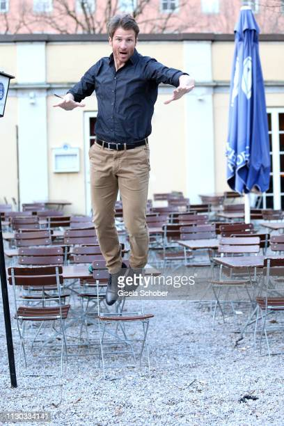 Heiko Ruprecht of the series Bergdoktor jumps during the NdF after work press cocktail at Parkcafe on March 13 2019 in Munich Germany