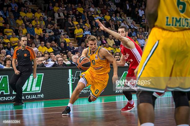 Heiko Schaffartzik #0 of Limoges CSP competes with Luka Babic #9 of Cedevita Zagreb in action during the Turkish Airlines Euroleague Regular Season...