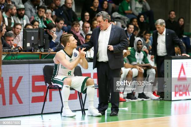 Heiko Schaffartzik and head coach of Nanterre Pascal Donnadieu during the Basket ball Champions League match between Nanterre and Bonn on January 24...