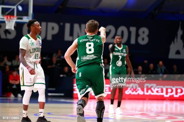 Heiko Schaffartzik and Jamal Shuler of Nanterre celebrate during the Leaders Cup match between Limoges v Nanterre on February 16 2018 in Paris France