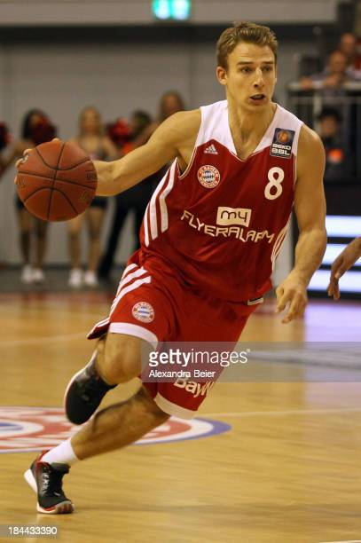 Heiko Schaffartzik of Bayern Muenchen dribbles the ball during the Basketball Bundesliga match between FC Bayern Muenchen and medi Bayreuth at...