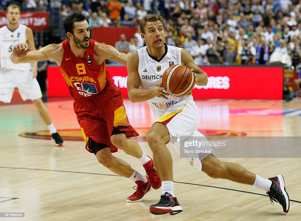Heiko Schaffartzik (R) of Germany drives to the basket against Pau Ribas of Spain during the FIBA EuroBasket 2015 Group B basketball match between Germany and Spain at Arena of EuroBasket 2015 on September 10, 2015 in Berlin, Germany.