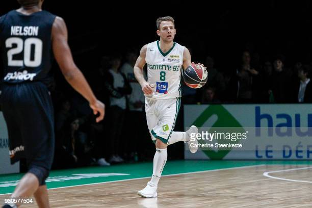 Heiko Schaffartzik of Nanterre 92 is bringing the ball up the court during the Jeep ELITE match between Nanterre 92 and Asvel Lyon Villeurbanne at U...