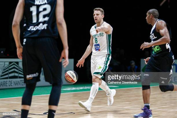 Heiko Schaffartzik of Nanterre 92 is calling a play during the Jeep ELITE match between Nanterre 92 and Asvel Lyon Villeurbanne at U Arena on March...