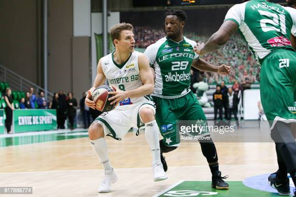 Heiko Schaffartzik of Nanterre and Demond Carter of Le Portel during the French Cup match between Nanterre and Le Portel on February 13 2018 in...