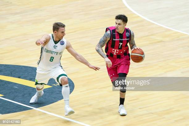Heiko Schaffartzik of Nanterre and Konstantin Klein of Bonn during the Basket ball Champions League match between Nanterre and Bonn on January 24...
