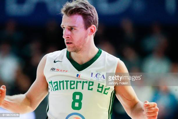 Heiko Schaffartzik of Nanterre celebrate during the Leaders Cup match between Le Mans and Nanterre 92 at Disneyland Resort Paris on February 17 2018...