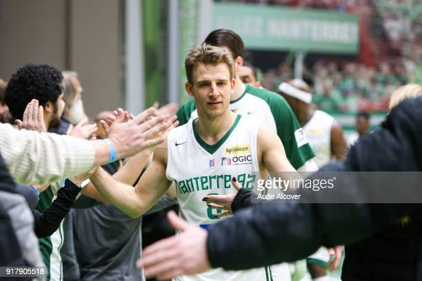 Heiko Schaffartzik of Nanterre celebrates with fans during the French Cup match between Nanterre and Le Portel on February 13 2018 in Nanterre France