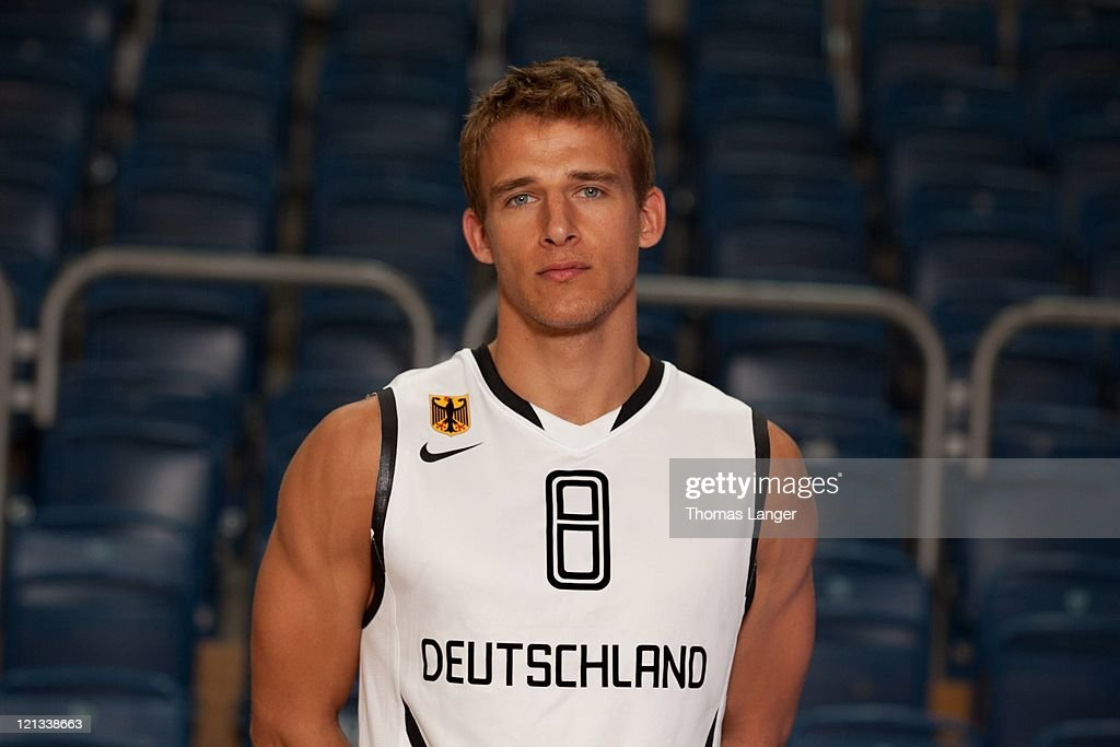 Heiko Schaffartzik of the German national basketball team poses during the team presentation at the Stechert-Arena on August 17, 2011 in Bamberg, Germany.
