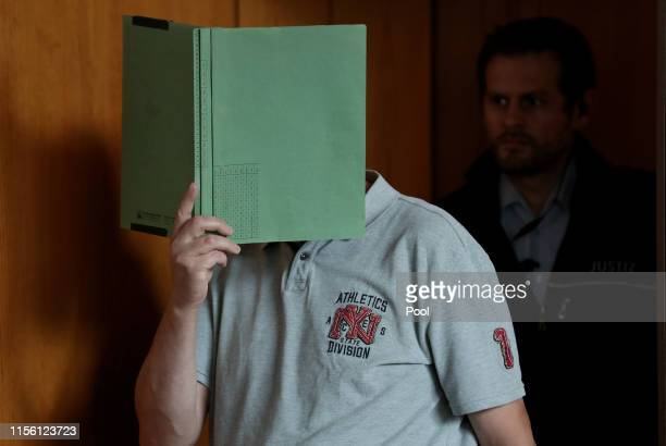 Heiko V arrives for the verdict in his role in the Lügde child abuse and child pornography case at the Landgericht Detmold courthouse on July 17 2019...