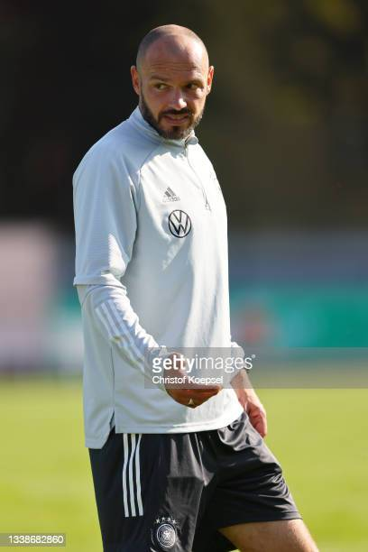 Heiko Westermann, assistant coach looks on prior to the KOMM MIT U17 Four Nations Tournament match between Germany U17 and Italy U17 at Wedau Stadium...