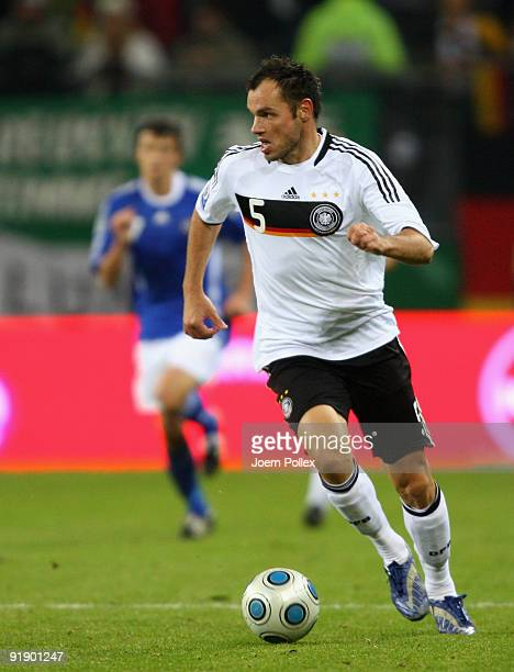 Heiko Westermann of Germany plays the ball during the FIFA 2010 World Cup Group 4 Qualifier match between Germany and Finland at the HSH Nordbank...