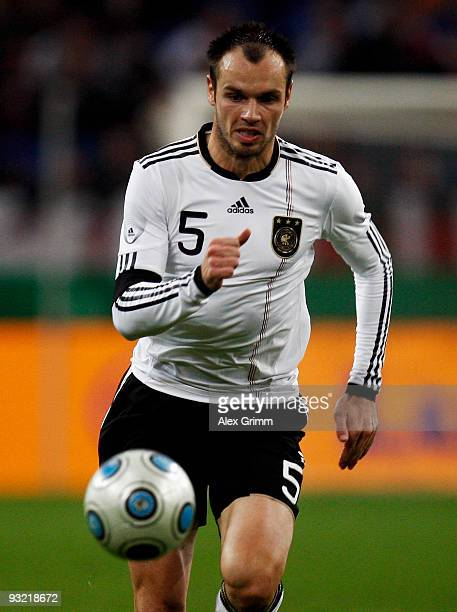 Heiko Westermann of Germany runs with the ball during the International friendly match between Germany and the Ivory Coast at the Schalke Arena on...