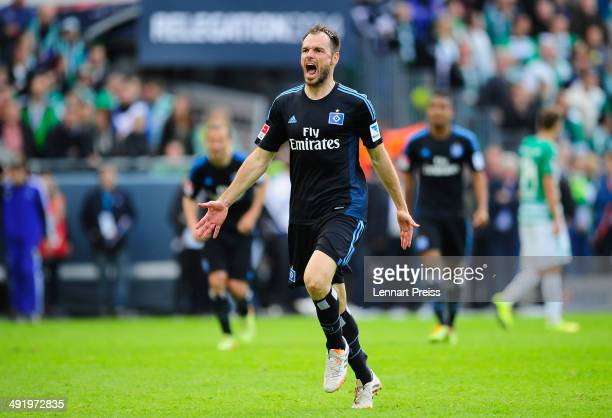 Heiko Westermann of Hamburg celebrates after the Bundesliga Playoff Second Leg match between SpVgg Greuther Fuerth and Hamburger SV at TrolliArena on...