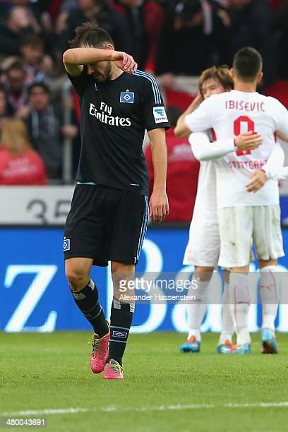 Heiko Westermann of Hamburg reacts after the Bundesliga match between VfB Stuttgart and Hamburger SV at MercedesBenz Arena on March 22 2014 in...