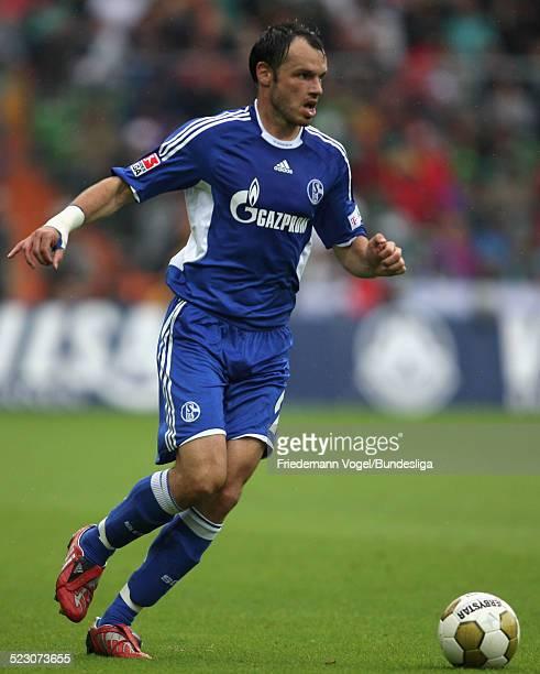 Heiko Westermann of Schalke in action during the Bundesliga match between Werder Bremen and FC Schalke 04 at the Weser stadium on August 23 2008 in...