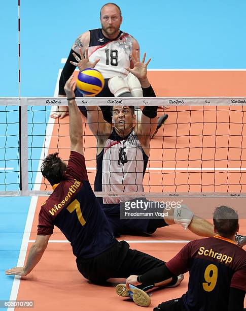 Heiko Wiesenthal of Germany in action during the Sitting Volleyball mach between USA and Germany on day 4 of the Rio 2016 Paralympic Games at the...