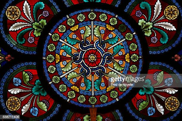 heiligenkreuz abbey. chapterhouse. stained glass. - stained glass stock pictures, royalty-free photos & images