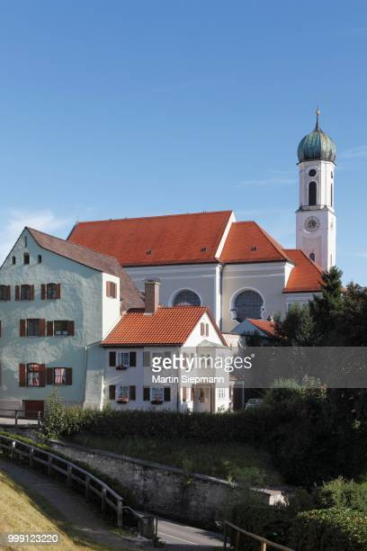 heilig-geist-kirche church, schongau, pfaffenwinkel, upper bavaria, bavaria, germany, publicground - kirche stock pictures, royalty-free photos & images