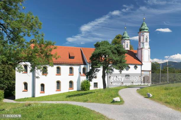 heilig-kreuz-kirche church, kalvarienberg (calvary hill), bad toelz, upper bavaria, bavaria, germany, europe - kirche stock pictures, royalty-free photos & images