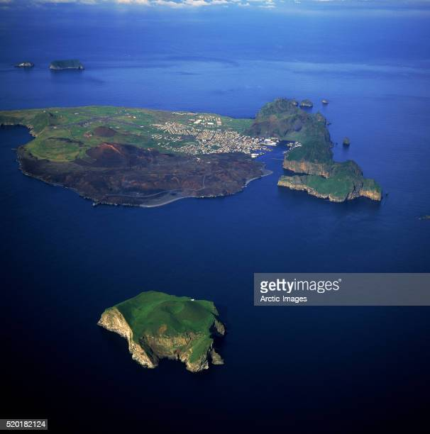 Heimaey Island with Village and Volcano