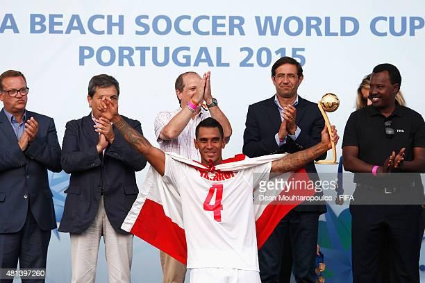 Heimanu Taiarui of Tahiti celebrates winning the adidas Golden Ball award during the FIFA Beach Soccer World Cup Final match between Tahiti and...