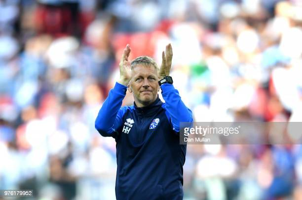 Heimir Hallgrimsson Manager of Iceland acknowledges the fans following the 2018 FIFA World Cup Russia group D match between Argentina and Iceland at...