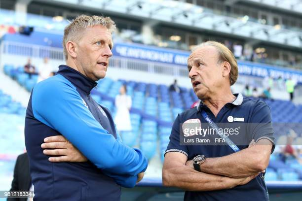 Heimir Hallgrimsson Manager of Iceland and Gernot Rohr Manager of Nigeria talk pitch side prior to the 2018 FIFA World Cup Russia group D match...