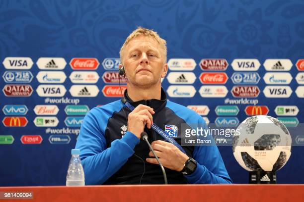 Heimir Hallgrimsson Manager of Iceland attends the post match press confernece following the 2018 FIFA World Cup Russia group D match between Nigeria...