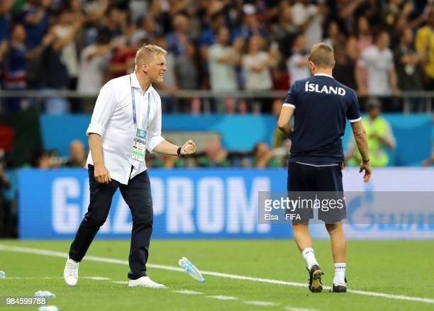 Heimir Hallgrimsson Manager of Iceland celebrates his sides opening goal during the 2018 FIFA World Cup Russia group D match between Iceland and...