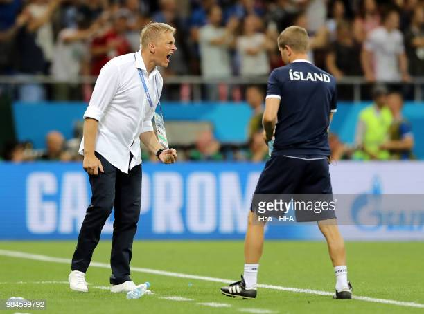 Heimir Hallgrimsson, Manager of Iceland celebrates his sides opening goal during the 2018 FIFA World Cup Russia group D match between Iceland and...