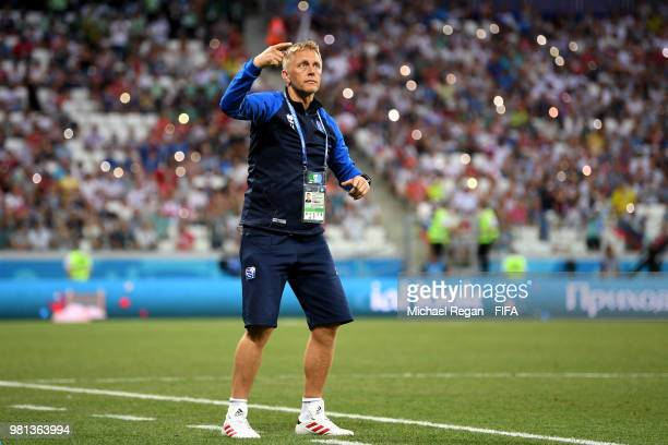 Heimir Hallgrimsson Manager of Iceland gives his team instructions during the 2018 FIFA World Cup Russia group D match between Nigeria and Iceland at...