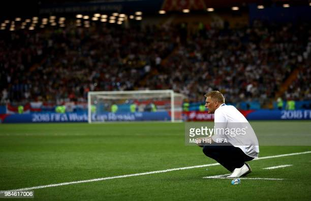 Heimir Hallgrimsson, Manager of Iceland looks dejected following his sides defeat in the 2018 FIFA World Cup Russia group D match between Iceland and...